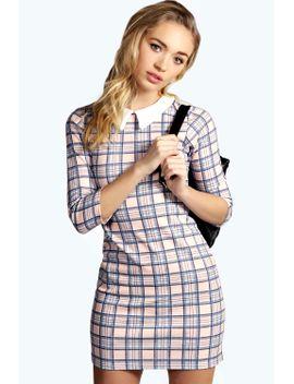 emma-check-collar-bodycon-dress by boohoo