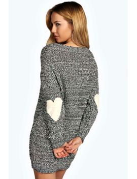 yazmin-marl-knit-heart-elbow-patch-jumper-dress by boohoo