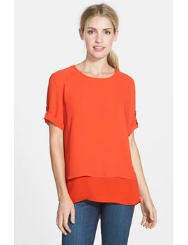 roll-sleeve-double-layer-blouse by chaus