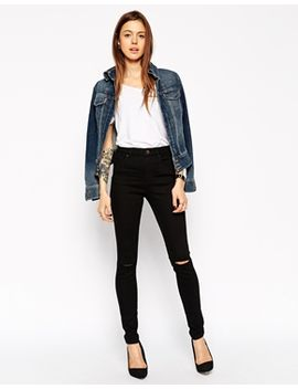 asos-ridley-skinny-jeans-in-clean-black-with-displaced-ripped-knees by asos-collection