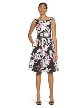 sleeveless-faille-floral-shadow-stripe-dress by whbm