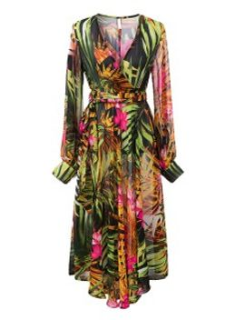 green-v-neck-long-sleeve-leaves-print-dress by choies