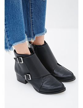 buckled-faux-leather-booties by forever-21
