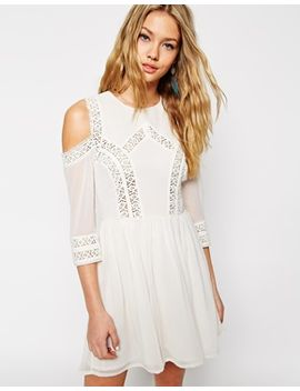 asos-skater-dress-with-cold-shoulder-and-crochet-lace-inserts by asos-collection