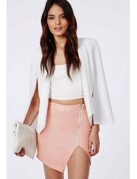 faux-leather-asymmetric-zip-detail-mini-skirt-dusky-pink by missguided