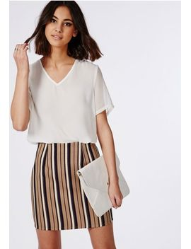 woven-vertical-stripe-mini-skirt-camel by missguided