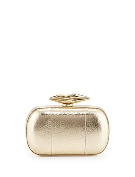 flirty-snake-leather-minaudiere-evening-clutch-bag,-gold by diane-von-furstenberg