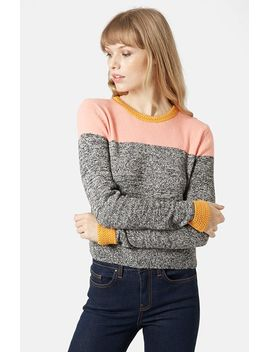 colorblock-space-dye-sweater by topshop