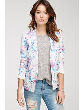 watercolor-floral-print-blazer by forever-21