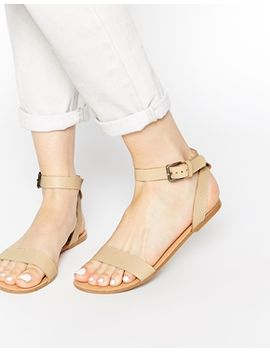 pieces-carla-nude-leather-flat-sandals by pieces