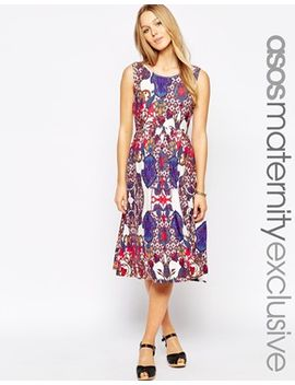 asos-maternity-midi-skater-dress-with-wrap-back-in-70s-paisley by asos-maternity