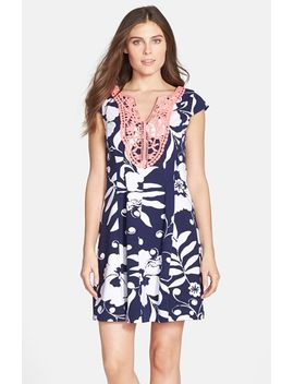 briella-print-lace-trim-fit-&-flare-dress by lilly-pulitzer®