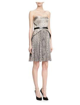 strapless-snake-print-belted-dress by jason-wu