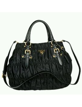 auth-prada-black-nappa-gaufre-tessuto-leather-handbag-(semitracolla)-bn1792-new by ebay-seller