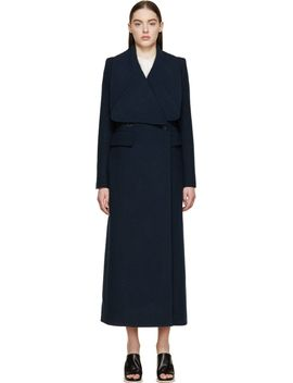 navy-wool-crêpe-long-double-breasted-coat by chloé