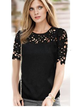 black-short-sleeve-hollow-lace-blouse by sheinside