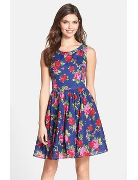 floral-print-cotton-fit-&-flare-dress by betsey-johnson