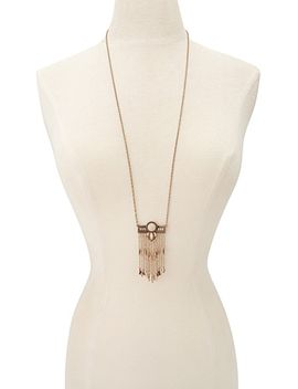 faux-stone-fringed-necklace by forever-21