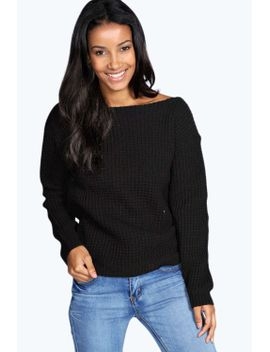 holly-waffle-knit-slash-neck-jumper by boohoo