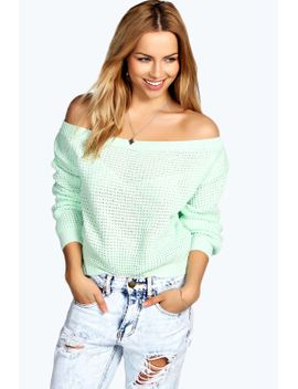 kate-crop-slash-waffle-knit-jumper by boohoo