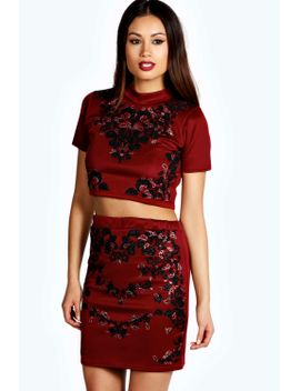 grace-embellished-high-neck-co-ord-set by boohoo