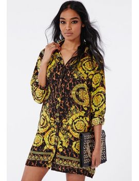 oversized-shirt-dress-leopard-and-gold-scarf by missguided
