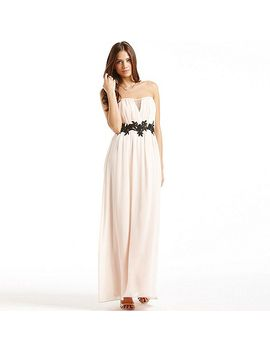 cream-and-black-floral-waist-maxi-dress by little-mistress