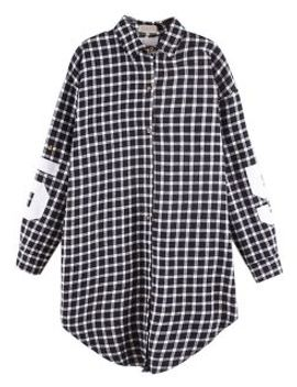 black-plaid-oversize-shirt-with-81-and-letter-print by choies