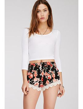 crochet-hem-floral-print-shorts by forever-21