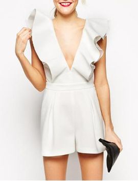 white-ruffle-v-neck-jumpsuit by sheinside