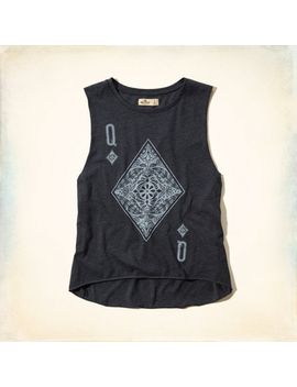 queen-of-diamonds-graphic-tank by hollister