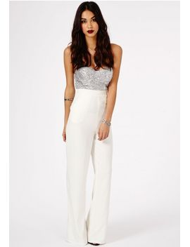 sora-sequin-bustier-jumpsuit by missguided