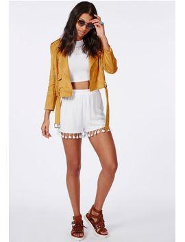 tassel-hem-high-waist-shorts-white by missguided