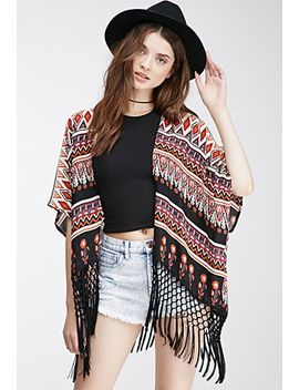 tasseled-abstract-floral-cardigan by forever-21
