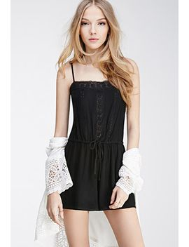 floral-crochet-cami-romper by forever-21