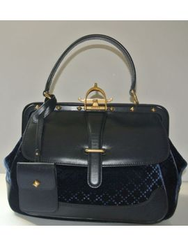 gucci-stirrup-medium-navy-blue-velvet-leather-top-handle-doctors-bag-purse-euc! by ebay-seller