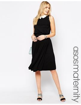 asos-maternity-midi-skirt-with-pleat-detail by asos-maternity