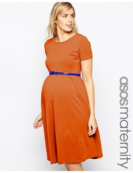 asos-maternity-slash-neck-skater-dress-with-belt by asos-maternity