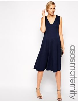 asos-maternity-midi-skater-dress-with-v-neck-in-texture by asos-maternity