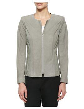 two-way-zip-lambskin-suede-jacket by lafayette-148-new-york