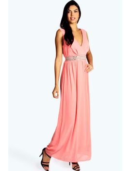 harlow-embellished-waist-plunge-front-maxi-dress by boohoo