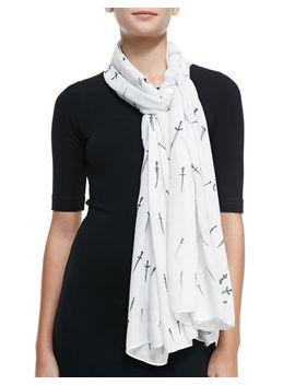 classic-dagger-wool-scarf,-white by rag-&-bone