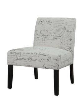 beige-vintage-french-script-contemporary-armless-accent-chair by ebay-seller