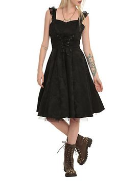 black-brocade-lace-up-dress by hot-topic