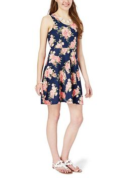 pink-&-navy-rose-zip-back-skater-dress by rue21