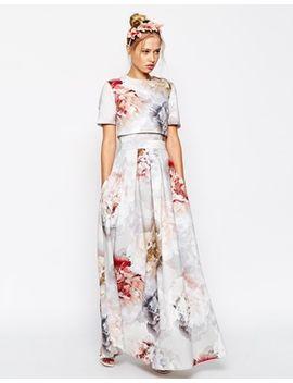asos-salon---maxi-robe-en-néoprène-à-fleurs-avec-top-court by asos-collection