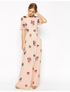 asos-salon---maxi-robe-imprimé-grappes-de-fleurs-effet-3d by asos-collection
