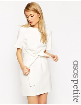 asos-petite-shift-dress-with-obi-belt by asos-petite