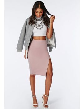 thigh-high-split-scuba-midi-skirt-mauve by missguided
