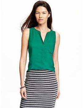 womens-matte-crepe-sleeveless-tops by old-navy